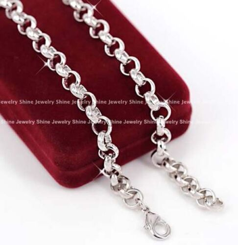 9K WHITE GOLD GF VINTAGE BELCHER CHAIN RINGS LINKS SOLID NECKLACE MOTHE DAY GIFT