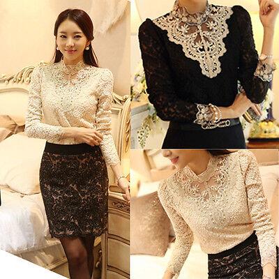 New Fashion Women's Long Sleeve Shirt Blouse Nice Ladies Tops Black/Beige