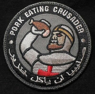 PORK EATING CRUSADER - SWAT - TACTICAL COMBAT HOOK BADGE MORALE MILITARY PATCH