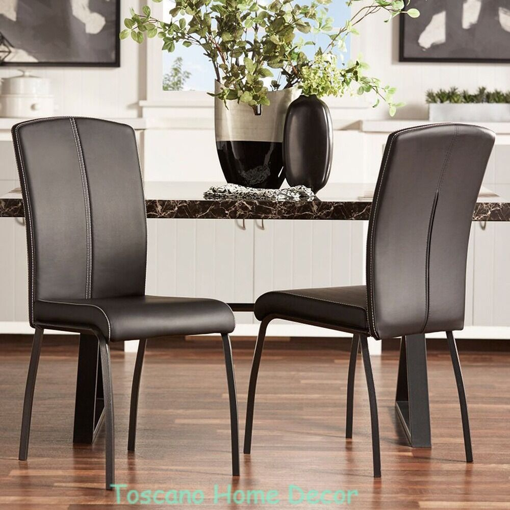 Dining Chair Set Modern Leather Black Accent
