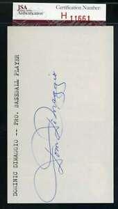 Dom Dimaggio JSA Coa Autograph Hand Signed 3x5 Index Card