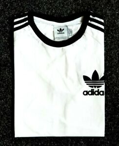 Adidas-Originals-Mens-Trefoil-California-Tees-Crew-Neck-T-Shirt-White-Black-NEW