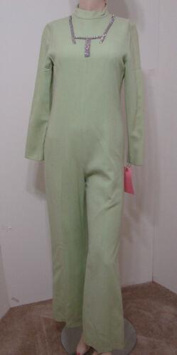 Vintage 70's Jumpsuit MOD Mint Green Wool Blend Rh