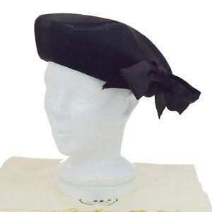 95ed2b7fcde Auth CHANEL Logos Ribbon Beret Hat Felt Size 57 Black Accessory ...