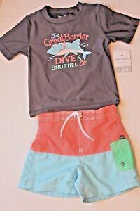 4a57a9a909 Carter's Baby Boy 24 Months Gray Rash Guard Top & Colorblock ...