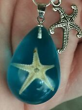"Starfish Real Set in Blue Resin Charm Tibetan Silver 18"" Necklace BIN"