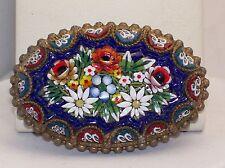 """Beautiful Older Italian Micro Mosaic 2 1/8"""" Brooch Lovely Flower Bouquet"""