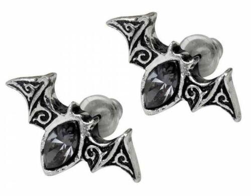 Alchemy Inglaterra-vienés noches Aretes Negro Regalo del estaño murciélagos gótico