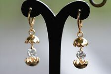 AamiraA 18K Gold Plated Eggshell Zircon AAA+ Designer Brass Earrings Dangles