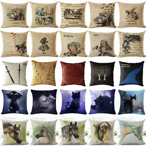 Image Is Loading Cartoon Alice In Wonderland Cotton Linen Pillow Case