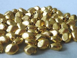 Goldene Nugget Metallperlen vergoldet gold 7,5 x 6 mm 2846