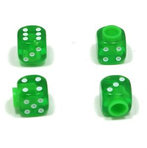 Set-of-Four-Green-with-Green-Inserts-Dice-Dust-Caps-X4-80-039-s-Retro-Valve-Caps