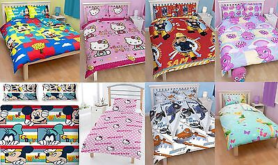 SINGLE / DOUBLE SIZE BOYS /GIRLS CHILDRENS CHARACTER BEDDING SETS BLUE /PINK/RED