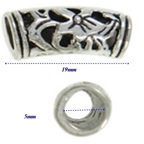 Antiqued Silver 19mm Open Cut Floral Curved Tube Large 5mm Hole Charm Beads 4pc