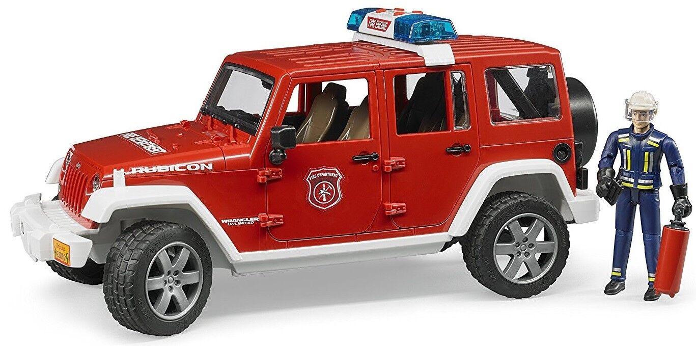 Bruder Jeep Wrangler Unlimited Rubicon Bomberos Coche con Bombero 02528