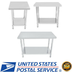 Stainless-Steel-Work-Table-Food-Prep-Commercial-Kitchen-Restaurant-US-STOCK