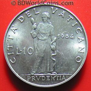 1964-VATICAN-CITY-10-LIRE-PRUDENCE-POPE-PAUL-VI-COLLECTABLE-COIN-ALUMINUM-23mm