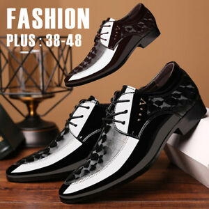 Men-039-s-Oxfords-Glossy-Leather-Shoes-Pointed-Toe-Business-Dress-Formal-Office-Work