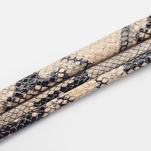 1 Meter Beige Snake Skin Pattern 10x6mm Licorice Leather Jewelry Making Cords