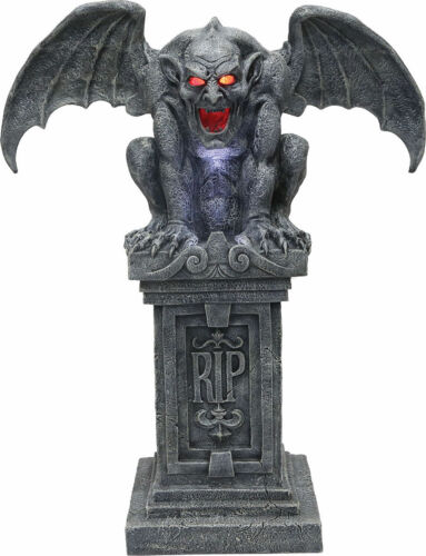 MR123188 Morris Costumes Haunted RIP Gargoyle Stone With Sound Lights Prop