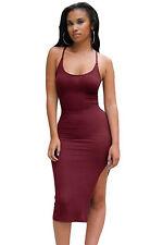 Abito cono aperto nudo scollo aderente Spacco Side Slit Fitted Slip Midi Dress M