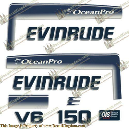 Evinrude 1993 - 1997 150hp OceanPro Outboard Decal Kit 3M Marine Grade