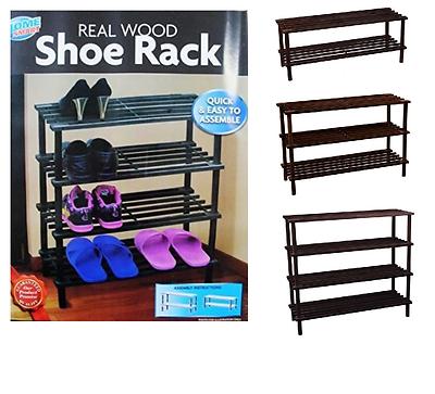 2 3 4 Nivel De Madera Zapato Rack Soporte de almacenamiento de información color café de listones con asiento en Roble organizador de Reino Unido