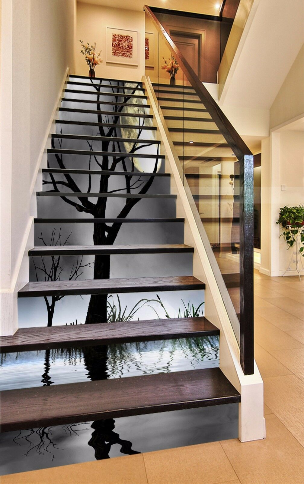 3D Sea Bare Trees 9 Stair Risers Decoration Photo Mural Vinyl Decal Wallpaper AU