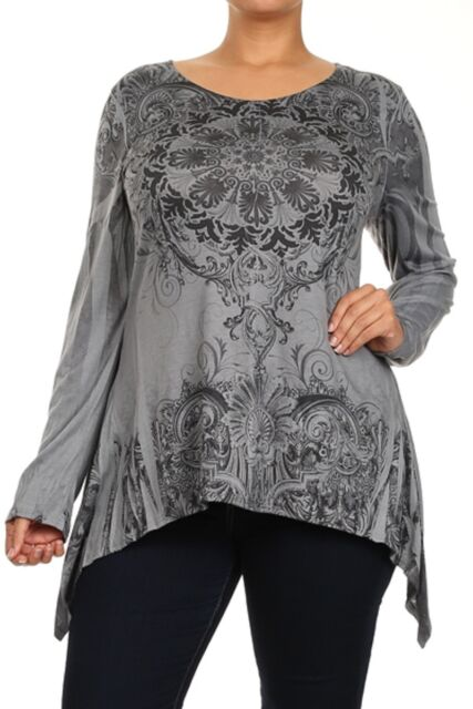 "Plus Size Long Sleeve ""Gray"" Sublimation Paisley Print Tunic Top-PT11 PT-3397GR"