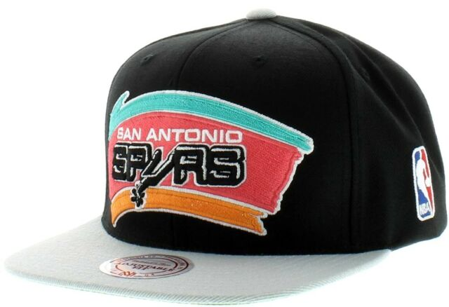 super popular 3ce14 ae9b4 San Antonio Spurs Mitchell   Ness NBA Snapback Hat XL Logo 2tone Cap HWC  Retro