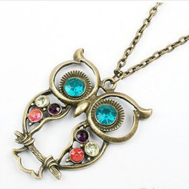 Lovely Women Lady Vintage Rhinestone Owl Pendant Long Chain Necklace Jewelry New