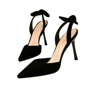 Prom-Women-High-Heels-Bowknot-Stilettos-Slingback-Suede-Party-Sexy-Cocktail-Shoe