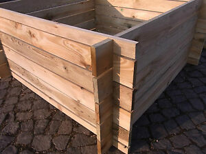 stabiler Holzkomposter Komposter Kompostbehälter Hochbeet 120 x 120 x 53 cm !!!
