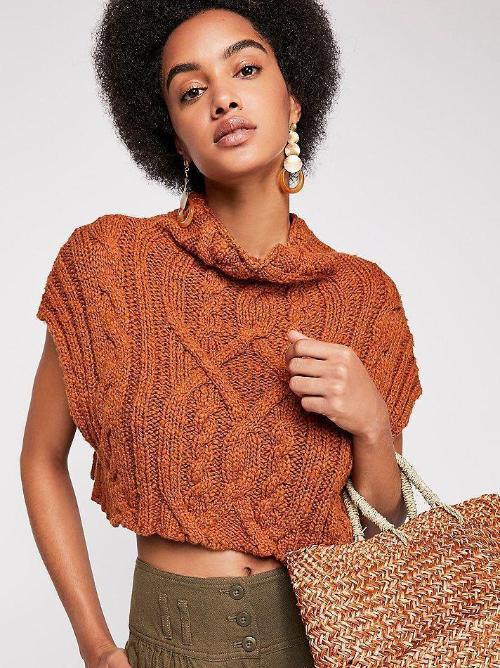 NWT Free People Size S Twisted-Cable Cropped Sweater in Mgoldccan Spice