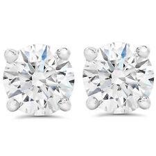 F SI 1.50 ct Round Round Diamond Studs with Screw Backs 14k White Gold Enhanced