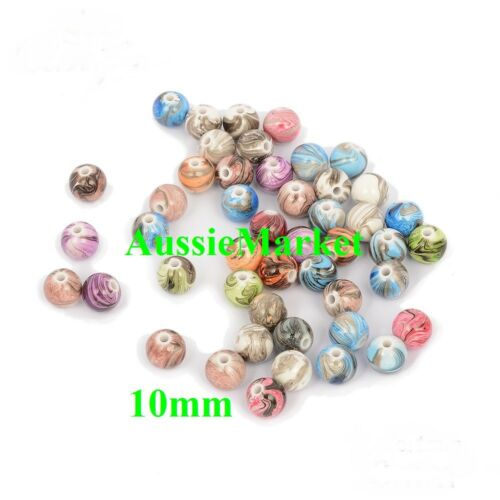 50 x beads acrylic plastic round mixed necklace bracelet 10mm crafts jewellery
