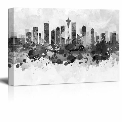 Wall26 City of Seattle with Watercolor Splotches 16x24 inches Canvas Art