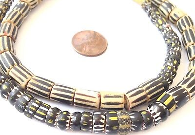 btet0805 beads 8 mm 24 inches African Trade antique Venetian Aja black yellow white chevrons pressed for round edges,great condition