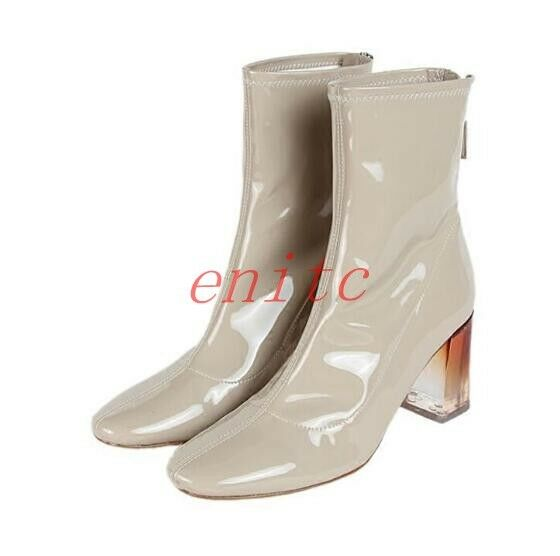Ladies Square Toe Faux Patent Leather Ankle stivali Block Heels scarpe Stage Date