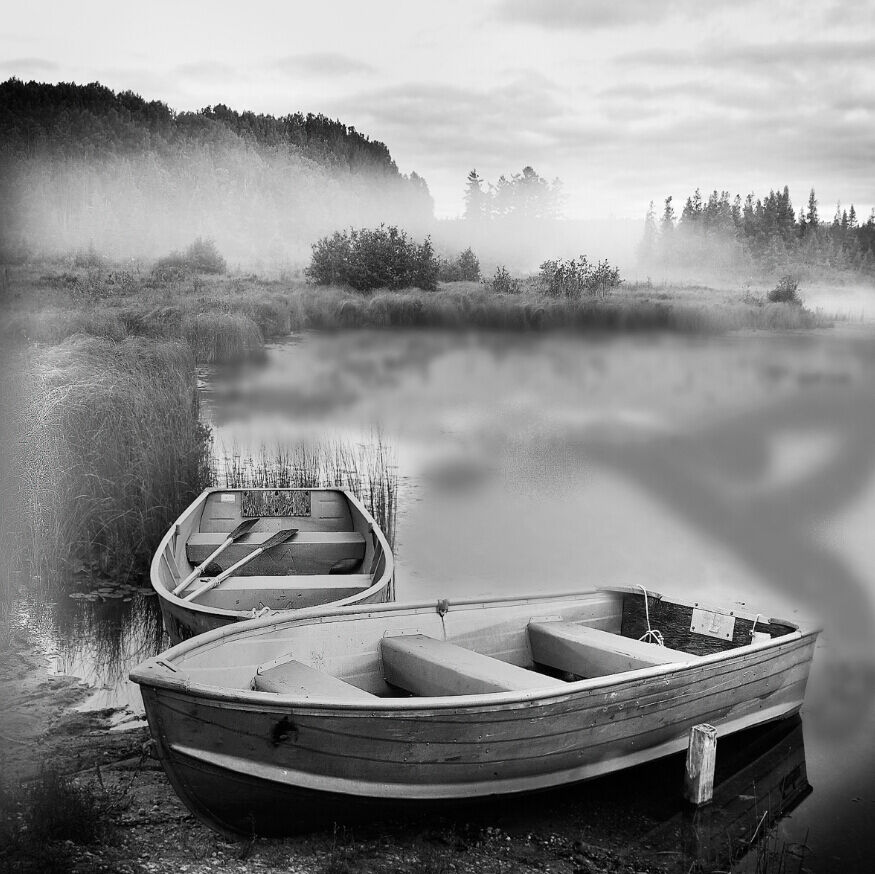3D Misty Lake Boats 032 Wall Paper Wall Print Decal Wall Deco Wall Indoor Murals
