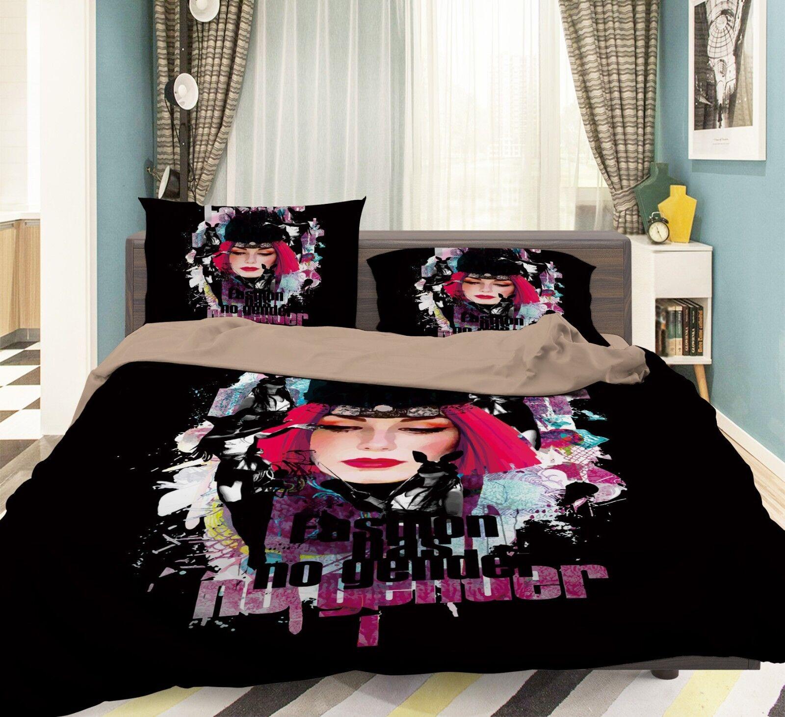 3D Graffiti Girl 403 Bed Pillowcases Quilt Duvet Cover Set Single Queen King AU