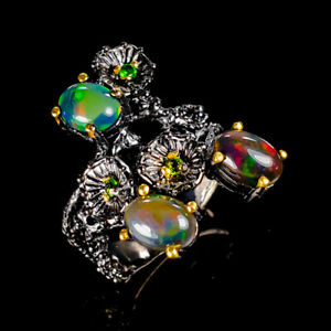 Beauty-Rainbow7x5mm-Natural-Black-Opal-925-Sterling-Silver-Ring-Size-6-R121045
