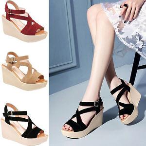 71cfc0614f3f51 Image is loading Womens-Fashion-Sandals-Wedge-Heels-Sandal-Platform-Open-