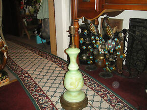 Antique-Art-Deco-Table-Lamp-Kiwi-Lime-Green-Gold-Butterflies-amp-Flowers-Ormolu