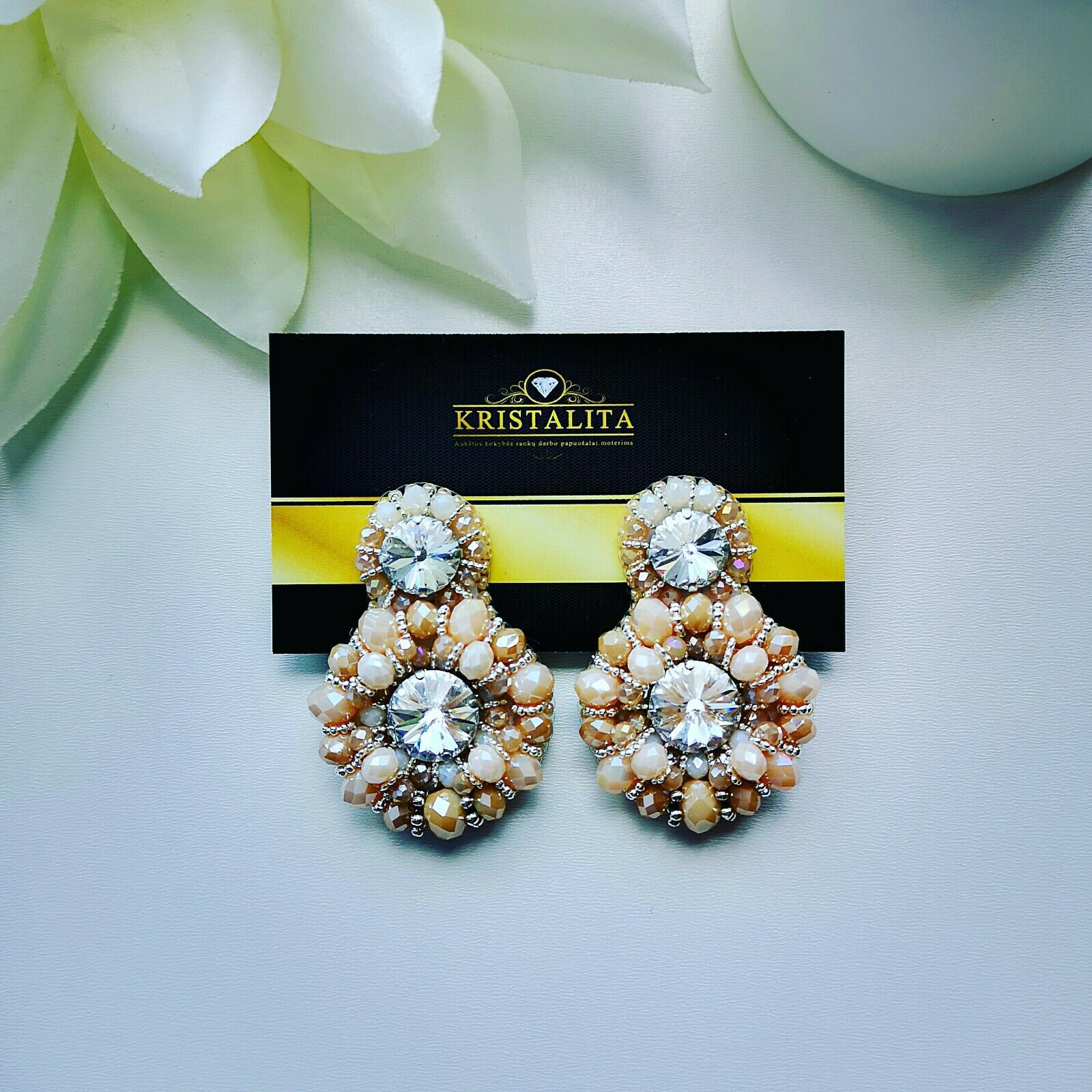 Handmade earrings with Swarovski crystal