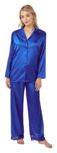 Damen Ebene Seidig Satin PJs Pyjamas Schlafanzug Pajamas Taste Vorne