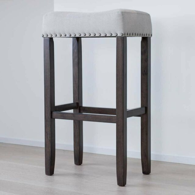 Nathan James 21402 Hylie Nailhead Wood Pub Height Kitchen Counter Bar Stool 29