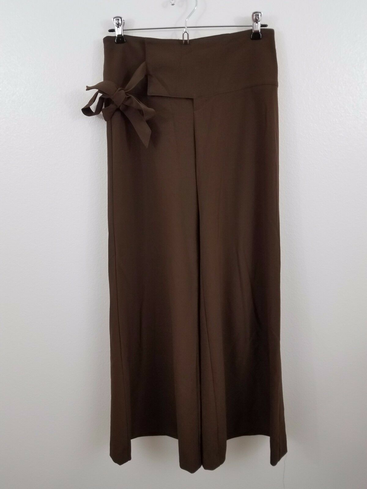 Cache 2  118 womens brown flare dress pants work NEW career tie belted espresso