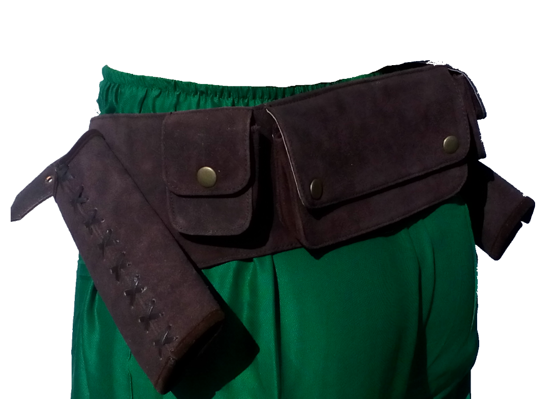 LARP Leather Scout Belt with Part Scabbards and built in in in pouch's 3459fe