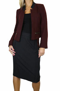 NEW (6352) Smart Open Bolero Tweed Jacket Skirt Suit Burgundy Black 6-16
